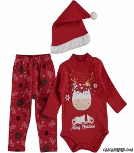 Geyik Desenli Noel Badili Bebek Takım