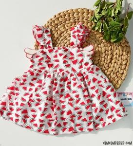 Kanatlı Karpuz Desenli Bebek Elbise
