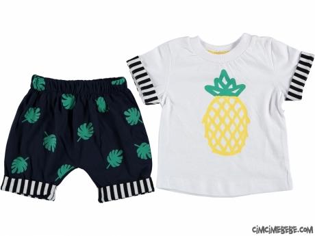 Ananas Baskılı Şortlu Yazlık Bebek Takım