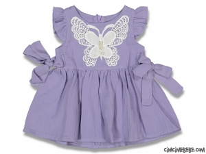 Kelebek Nakışlı Müslin Bebek Elbise
