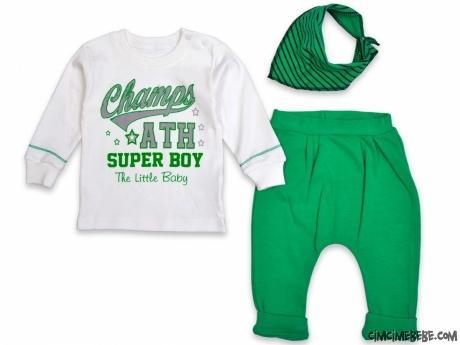 Super Boy Fularlı Şalvar Altlı Bebek Takım