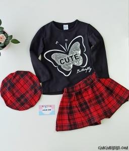 Cute Butterfly Şapkalı Kız Çocuk Takım