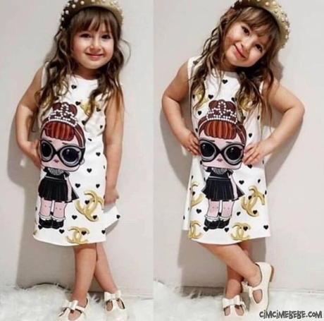 Çantalı Kız Çocuk Elbise
