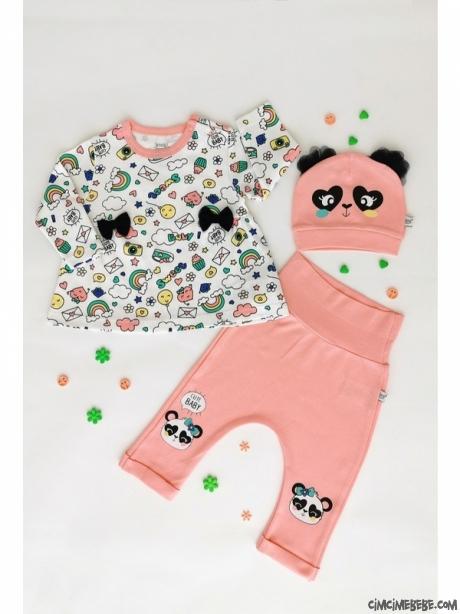 Panda Desenli Şapkalı Bebek Takım