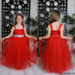 Beli Pullu Prenses Kız Elbise