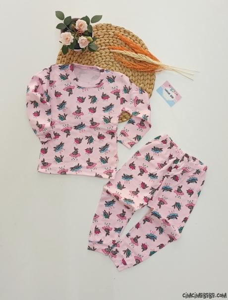 Buluttaki Tavşan Kız Çocuk Pijama Takımı
