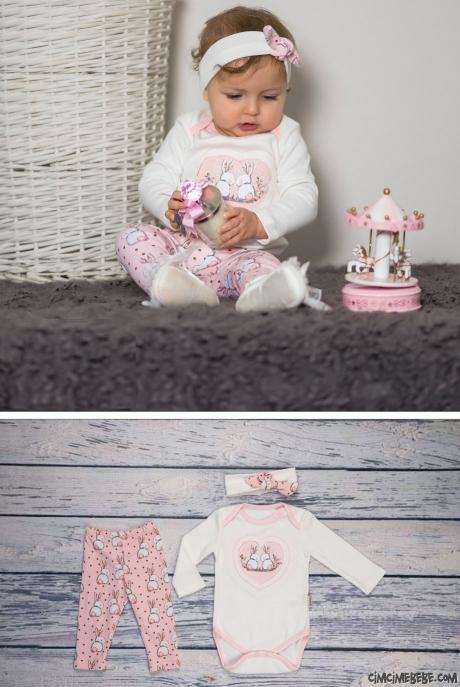Minik Tavşan Bandanalı 3'lü Bebek Takım
