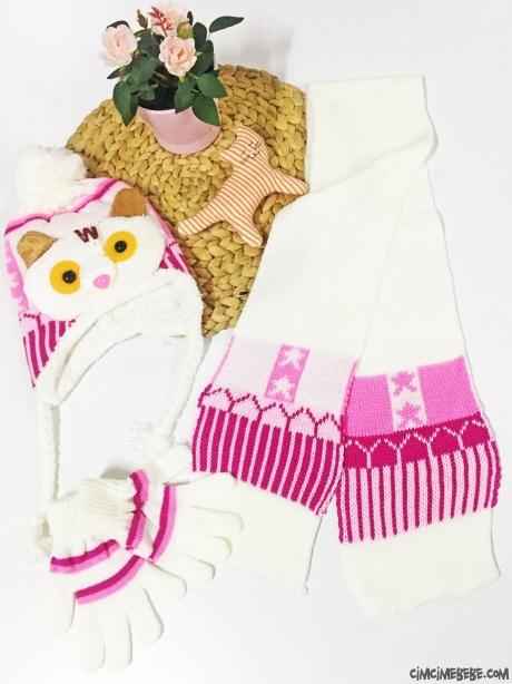 Baykuşlu Kız Çocuk Atkı-Bere-Eldiven Takımı