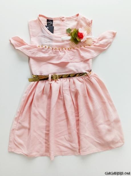 Bürümcük İnci Detaylı Kız Çocuk Elbise