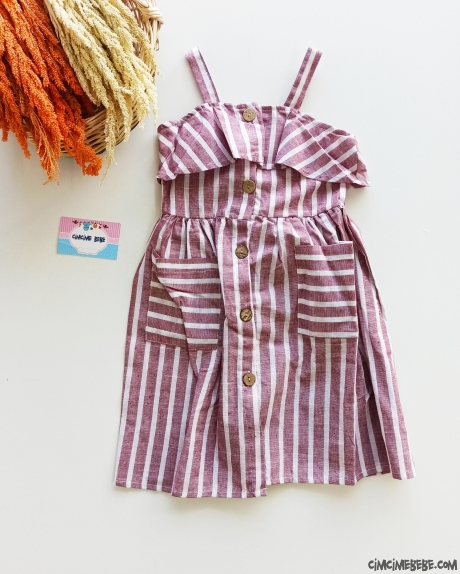 Çizgili Keten Kız Çocuk Elbise
