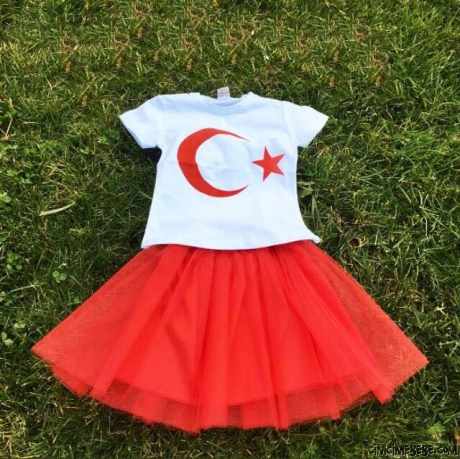 23 Nisan Türk Bayraklı Tütü Etekli Kız Çocuk Takım