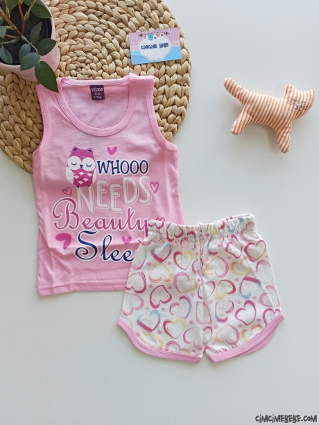 Sevimli Şortlu Kız Çocuk Pijama Takımı