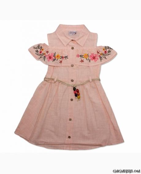 Çiçek Nakışlı Kız Çocuk Elbise