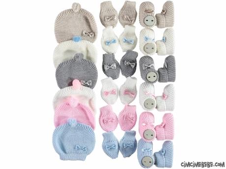 Sevimli Bebek Triko Patik Şapka Eldiven Takımı
