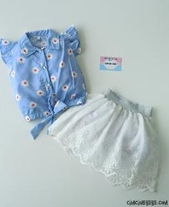 Papatya Gömlekli Etekli Kız Çocuk Takım