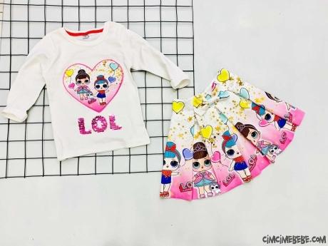 Kız Çocuk Dalgıç Etekli Takım