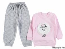 Kuzucuklu Penye Kız Bebe Pijama Takımı