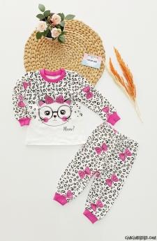 Leoparlı Kedi Pijama Takımı
