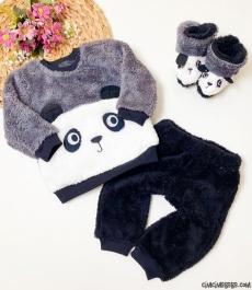 Peluş Pandalı Patikli Bebek Takım