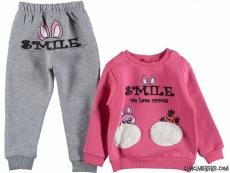 Smile İçi Polar Kız Bebek Eşofman Takımı