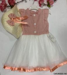 Hasır Şapkalı Kız Çocuk Elbise