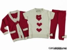 Kalp Baskılı  3 Lü Triko Takım