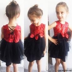 Pullu Fiyonklu Kokoş Kız Elbise