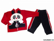 Panda Aplikeli Kadife Esofman Takımi