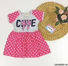 Cute Puantiyeli Kız Çocuk Elbise