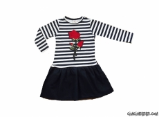 Nakışlı Penye Kız Çocuk Elbise