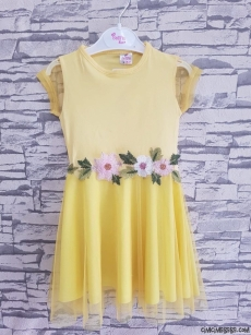 Çiçekli Kız Çocuk Elbise