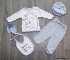 Baby Ekoseli 5 Parça Zıbın Seti