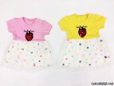 Çilekli Tüllü Kız Çocuk Elbise