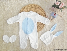Minik Tavşan Poposu Ponponlu Erkek Bebek Tulum