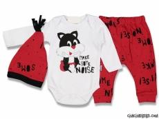 Tarz Kedicik Erkek Bebek 3'lü Takım