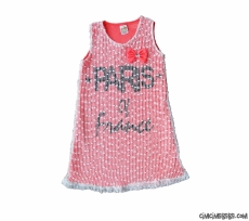 Paris Fileli Kız Çocuk Elbise