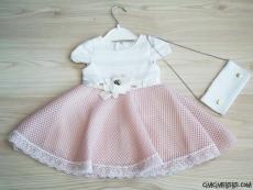 Çantalı Beli Çiçekli Şık Kız Elbise