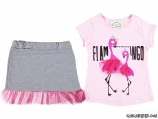 Flamingo Etekli Kız Çocuk Takım