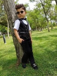 Zincirli Uzun Kollu Gömlekli Erkek Çocuk Smokin Takım