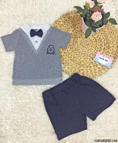 Sahte Gömlekli Papyonlu Bebek Takım