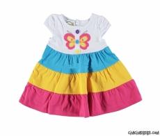 Kelebekli Rengarenk Kız Bebek Elbise