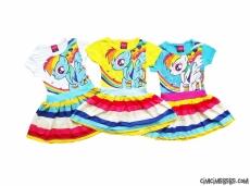 Midilli Rengarenk Çocuk Elbise