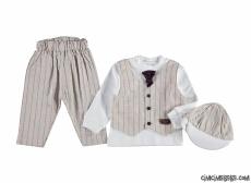 Sahte Yelekli Kravatlı Bebek Takım