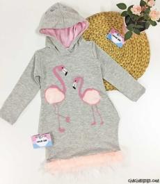 Flamingo Tüylü Kız Çocuk Elbise