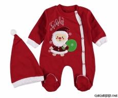 Noel Baba Şapkalı Bebek Tulum