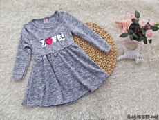 Love Pullu Kışlık Kız Çocuk Elbise