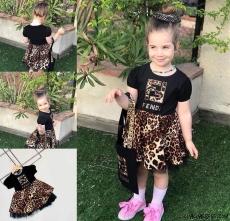 Leoparlı Bandanalı Kız Çocuk Elbise