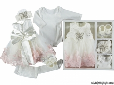 Kelebek Taşlı Kız Bebek Mevlütlük Set
