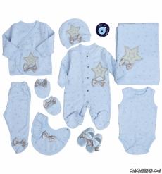 Yıldızlı Lüks Erkek Bebek 10 Parça Zıbın Seti