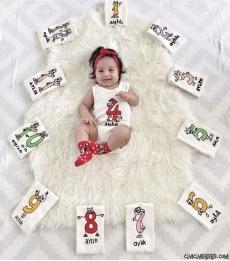 Kız Bebek Yarımkollu Aylık Anı Badisi Seti